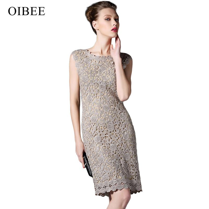 OIBEE Renda Menyulam Vintage Tanpa Lengan Musim Semi Musim Panas - Pakaian Wanita - Foto 1