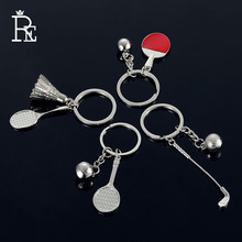 RE 100pcs/lot Factory Direct Sales Wholesale Promotion Table Tennis Golf Key Chain Sports Keychain Badminton Racket Key Ring