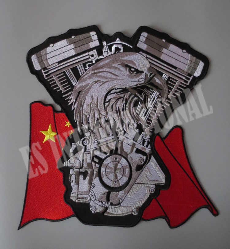 Drapeau chinois aigle double moteur 11.2 pouces patchs de broderie pour veste arrière gilet moto Club motard hors-la-loi 27.4 cm * 28.6 cm