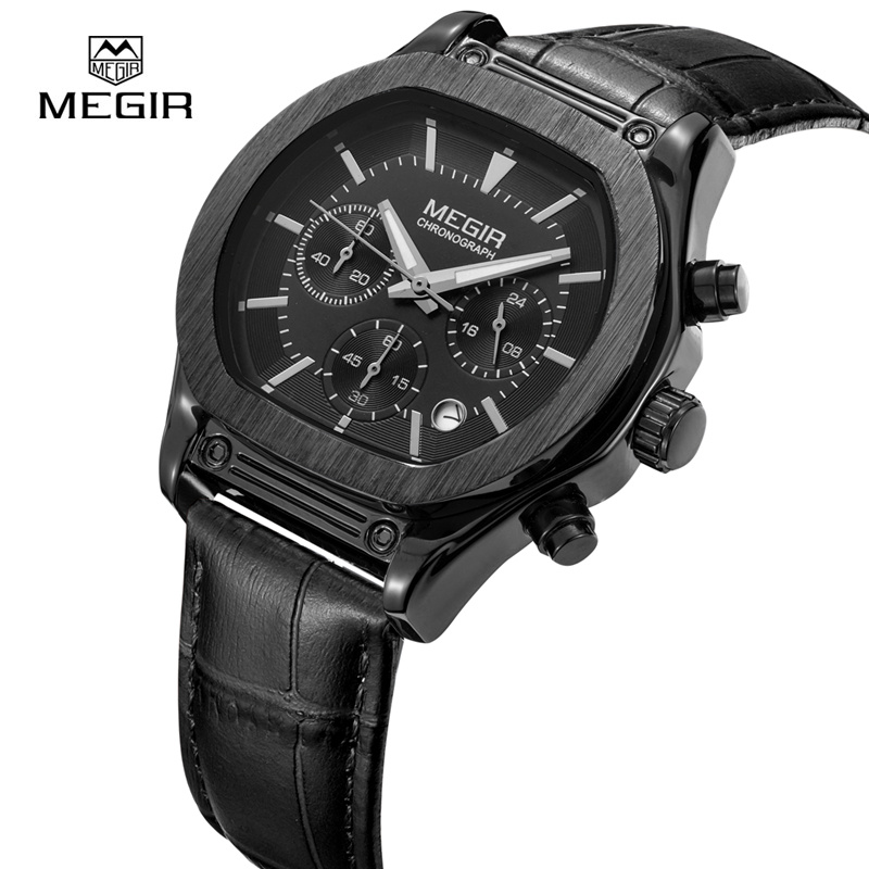 MEGIR Auto Date Mens Watches Military Army Sports Casual Waterproof Men Watch Quartz Stainless Steel Leather Man Wristwatch 3014 60%off fashion silicone bracelet watch olevs men classic design military watches quartz auto date diver sports wristwatch 2017