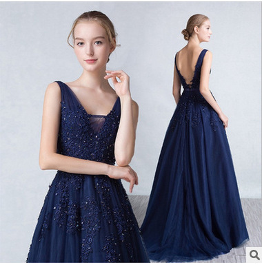 Vestido De Festa V Neck Sleeveless Lace Appliques Beaded Navy Blue and redcheap   Bridesmaid     Dresses   Women Formal Party Gowns