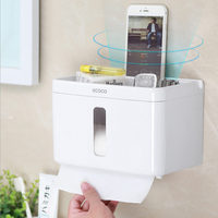 Paper Box ABS White Painting Surface Toilet Paper Holder Paper Box Wall Mounted Modern Napkin Holder Bathroom Accessories Set