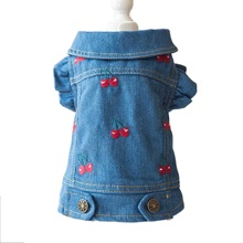 NEW Denim Dog Jacket Cherry Pet Clothes Ruffle Sleeve Retro Style XS S M L XL стоимость