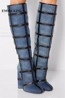 EMMA KING/Стильные темно синие джинсовые высокие сапоги; женские модные повседневные модельные ковбойские сапоги с перекрестным узлом на масси