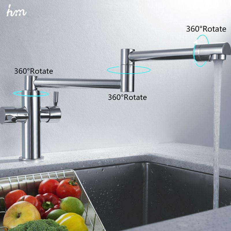 hm Kitchen Sink Faucet Stretch Folding Bathroom Kitchen Mixer Taps Deck Mounted Dual Handle Luxury Copper