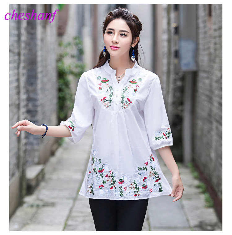 71362032d3eea 2019 Vintage 70s Women Ethnic Floral Embroidered Boho Hippie Mexican Peasant  White Gypsy Blouse Chic Tops