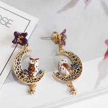 New Arrivals Enamel Violet Owl Series Flower Moon Owl Tassels Stars Earrings 925 Silver Needle Woman Fashion Jewelry