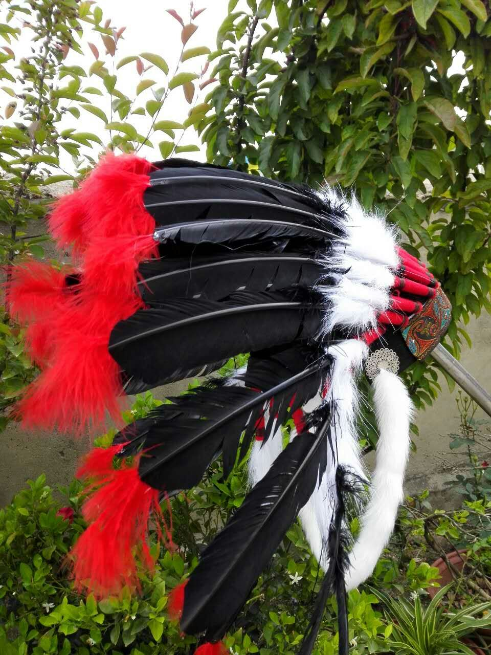 Black feather headdress headband feather hat feather costume halloween costume supply