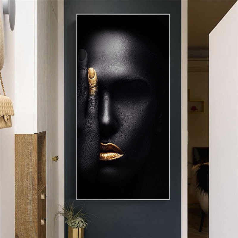 Abstract Black  Nordic Woman Face Portrait Canvas Painting Posters and Prints Scandinavian Wall Art Picture for Living Room