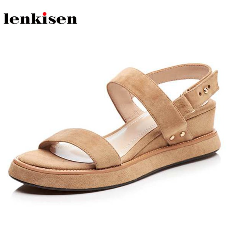 Lenkisen kid suede peep toe solid buckle straps causal summer shoes wedges young lady walking med heel fashion women sandals L02