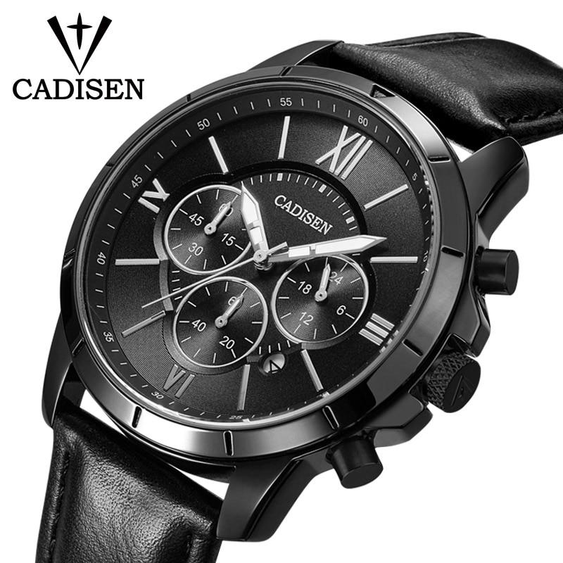 все цены на Men Watches CADISEN Top Hot Fashion Sport Brand Luxury Quartz Watch Men Leather Waterproof Military Wristwatch Relogio Masculino