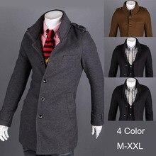 Зима бизнес эполет мужские пальто приталенный подходящую верхняя одежда свободного покроя однобортная куртки шерстяная ткань пальто M-XXL