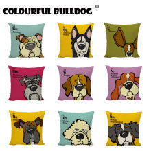 Cartoon Dogs Cushion Covers Bulldog Golden Retriever Beagle Home Decor Sofa Seat Girls Car Beds Siberian Husky Throw Pillow Case(China)