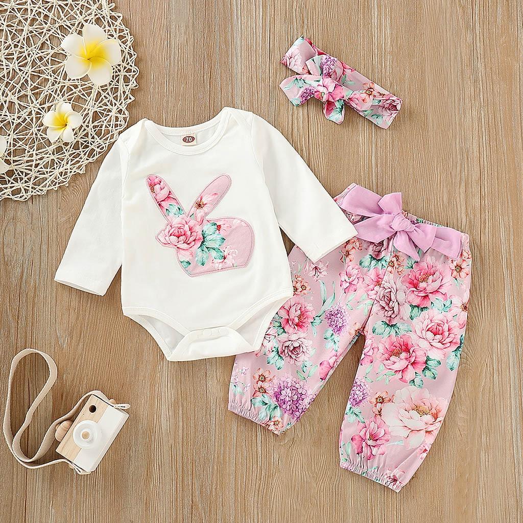 2019 Kid Lässige Kleidung Set 100% Baumwolle Baby Mädchen Jungen Kleidung Set Kaninchen Druck Overall Romper + Hosen + Stirnband Outfits ZuverläSsige Leistung
