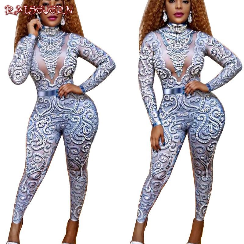 RAISEVERN Blue Sequin Jumpsuit Women Long Sleeve Sparkly Bodycon Jumpsuits Sexy Rompers Glitter Club Party Jumpsuits Overalls