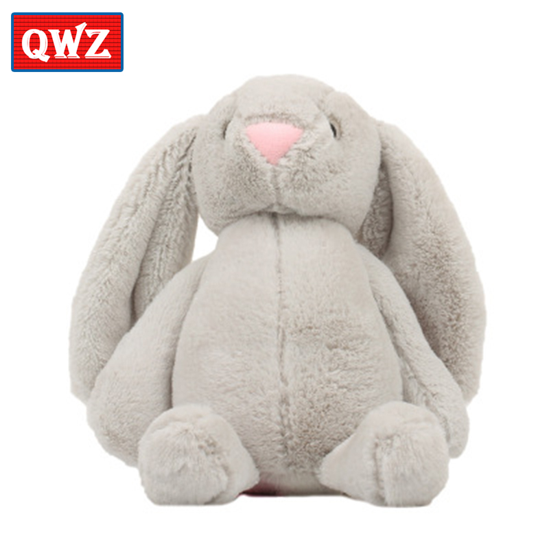 QWZ 30CM Kawaii Long Ears Bunny Soft Toy Fluffy Rabbit Plush Toys Soft Dolls Kid Partner Birthday Christmas Gifts le sucre wearing dress 30cm kawaii rabbit plush toys bunny stuffed dolls kids toys gifts clothes can be take off