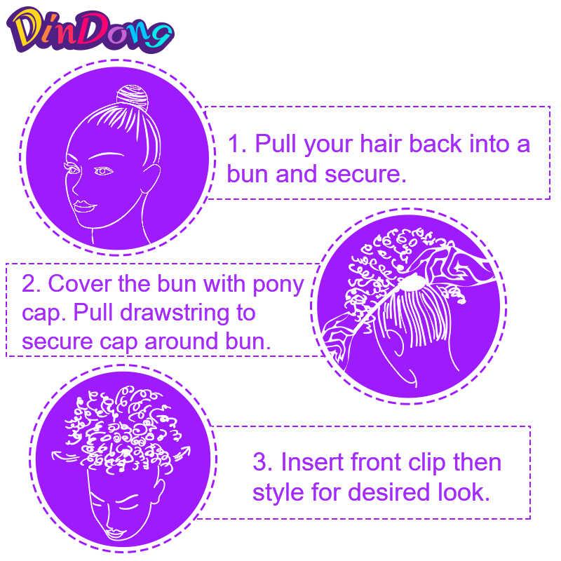 DinDong короткий кудрявый шнурок конский хвост Синтетический Updo волосы булочки клип в хвосте накладные волосы конский хвост шиньон