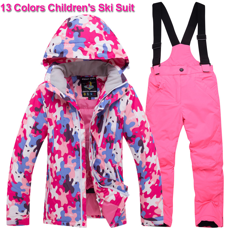 Multicolor Girls Boys Snow Ski Jacket and Pants Children's Ski Suit Winter Windproof Waterproof Super Warm Coats