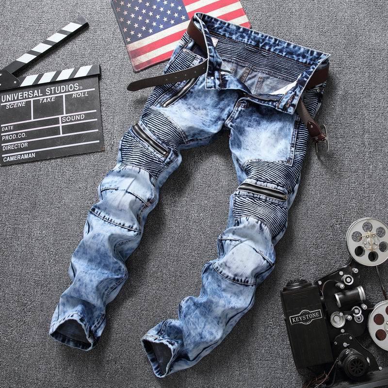 New Blue Print  Biker Men Jeans Ripped Slim Fit Hip Hop Denim Trousers Men`s Jeans High Quality Motorcycle Pants Punk Homme