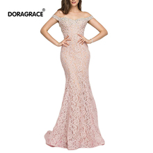 Doragrace robe de soiree Off the Shoulder Lace-Up Mermaid Prom Gowns Lace Evening Dresses