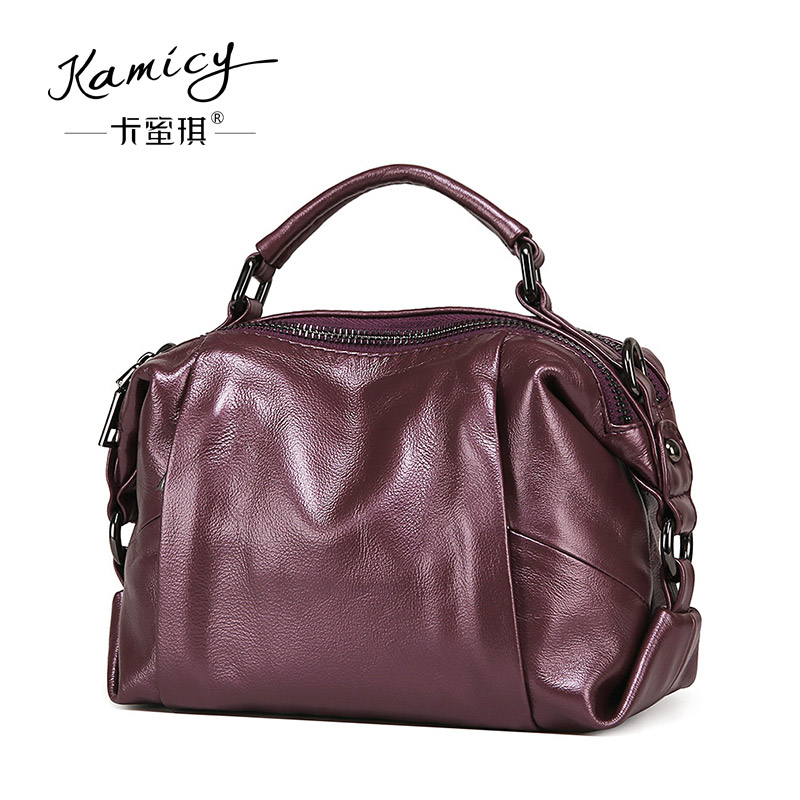 Leather handbag 2018 new classic pure color Boston bag fashion single shoulder bag leisure high-capacity inclined shoulder bag sailor moon the same type bag fashion small pure and fresh and candy color one shoulder inclined shoulder bag