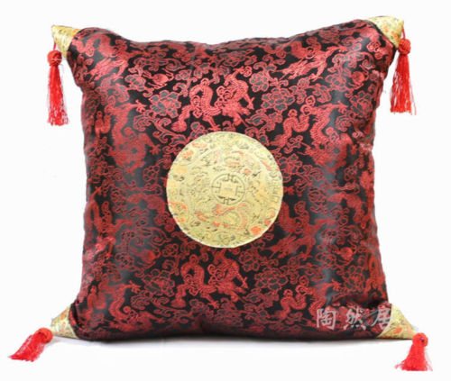45*45cm Chinese Silk Solid Color Little Dragon Pattern Light Yellow Cushion Cover Home Textile