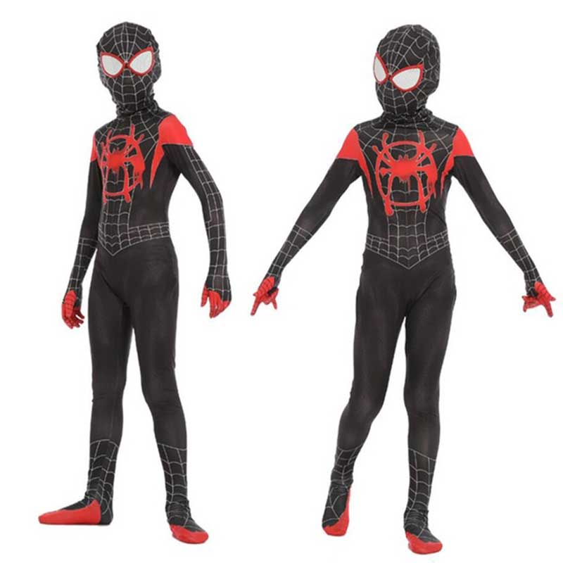 New Kids Boys Spider-man Into The Spider Verse Miles Morales Cosplay Costume Spiderman Pattern Bodysuit Zentai Suit Jumpsuit