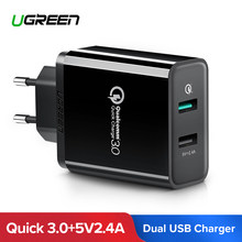 Ugreen Quick Charge 3.0 30W QC 3.0 USB Charger for iPhone X 8 Fast Charger for Samsung Galaxy s8 s9 Xiaomi mi 8 Quick Charge 3.0(China)