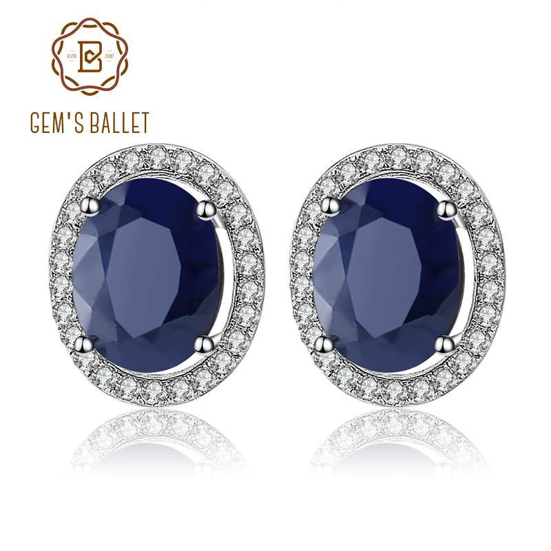 GEM S BALLET 7x9mm Natural Blue Sapphire 925 sterling silver Gemstone Stud Earrings Vintage Fine Jewelry
