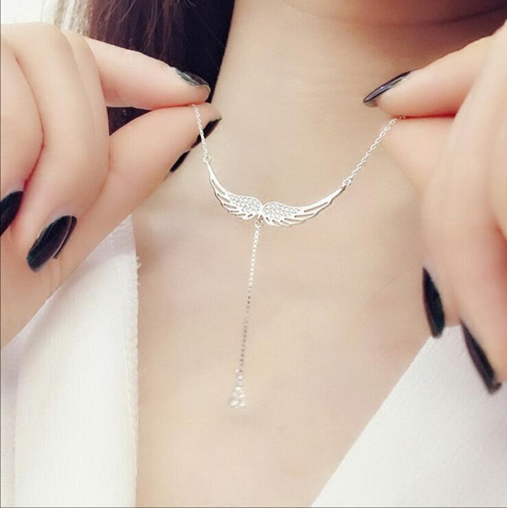Solid 925 Sterling Silver Fine Wedding Jewelry Angel Wings AAA Cubic CZ Diamond Choker Necklaces Pendants
