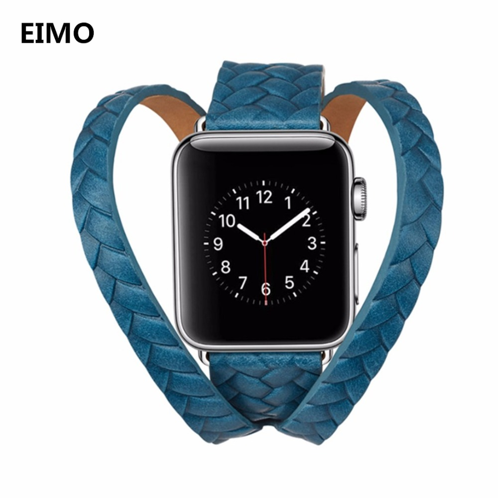 EIMO Women watch bands For Apple watch Series 3 2 1 iWatch band 42mm 38mm Genuine Leather Strap Bracelet Wrist Double Tour Loop luxury ladies watch strap for apple watch series 1 2 3 wrist band hand made by crystal bracelet for apple watch series iwatch