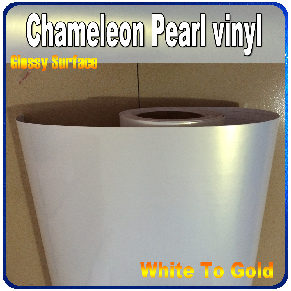 High Quality Glossy Pearl Chameleon White Vinyl for Car Wrapping Decal Sticker With Air Channel FedEx Free Shipping 20m/roll quality guarantee silver chrome vinyl film for car wrapping sticker with air bubble free 20m roll