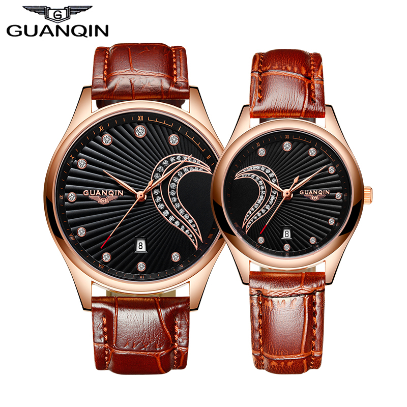 2016 GUANQIN New Pair Watches for Lovers Men Women Quartz Watches with Leather Strap Fashion Waterproof Lovers Clock reloj pulse стоимость