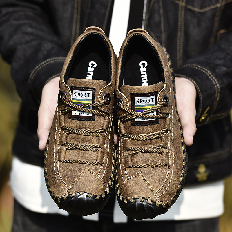 Big Size 2019 Spring Genuine Leather Men's Shoes Lace-up Man Outdoor Casual
