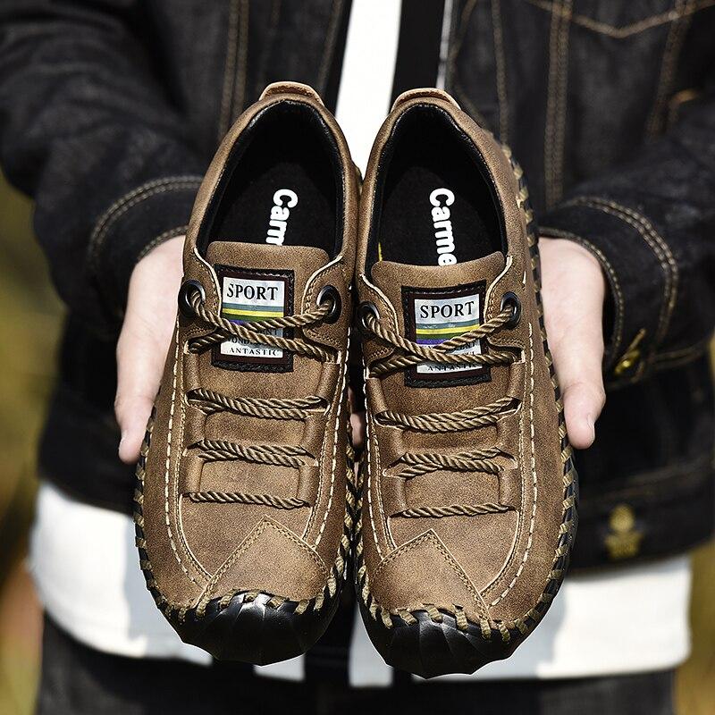 Grande taille 2019 printemps en cuir véritable chaussures pour hommes à lacets homme en plein air chaussures décontractées épais point de fond chaussures antidérapantes hommes