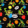 100X105cm Black Background Ninja Turtles Pizza Cotton Fabric For Baby Boy Clothes Hometextile Patchwork DIY AFCK407