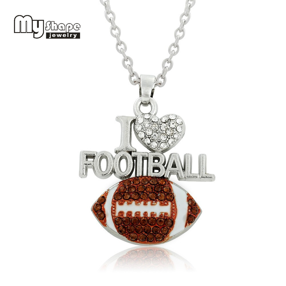my shape American football rugby Necklace I Love Football Women Jewelry Blue Deep Brown Rhinestone Color For Jewelry Making