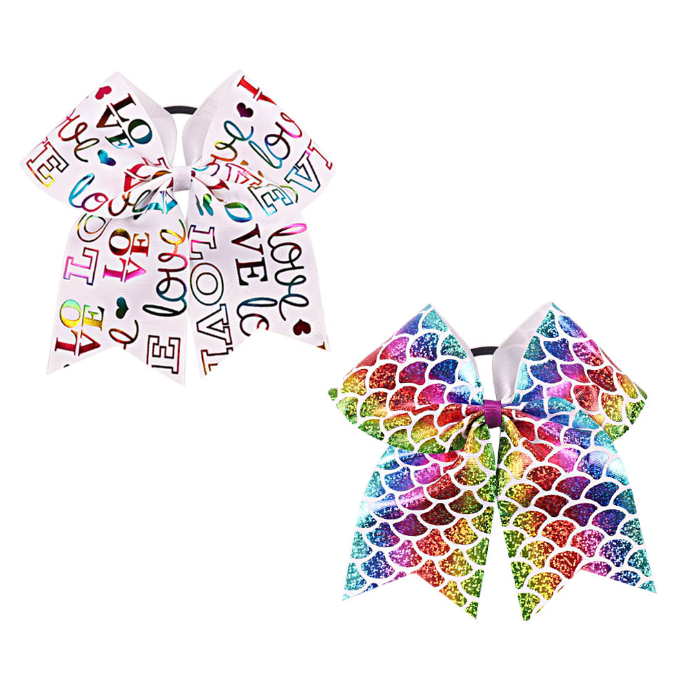 7 Large Mermaid Ribbon Cheer Bow For Girls Hair Bows With Letter Red Lips Printed Elastic Band Bow Children Hair Accessories Attractive Fashion Accessories