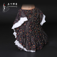 Lady's Belly Dance Skirt Adult Women's Cotton Skirt Stage Dance Costume Traditional Dance Performance Tribal Maxi Skirt ATS01038