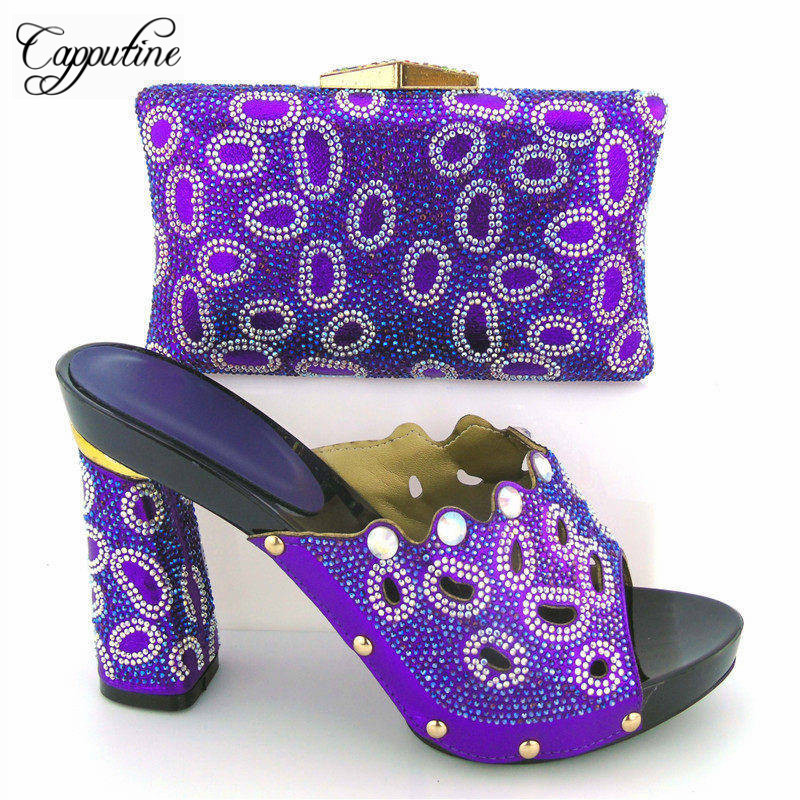 Capputine New Arrival African Shoes And Matching Bag Set For Wedding Party Fashion Summer Women High Heels Shoes And Bags Set doershow african shoes and bags fashion italian matching shoes and bag set nigerian high heels for wedding dress puw1 19