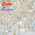 Hot Sale 2mm 2000pcs All  AB Magic Color Jelly 2mm Resin Rhinestone Nail Art Phone Stick Rhinestones Non hotfix Use Glue H0253