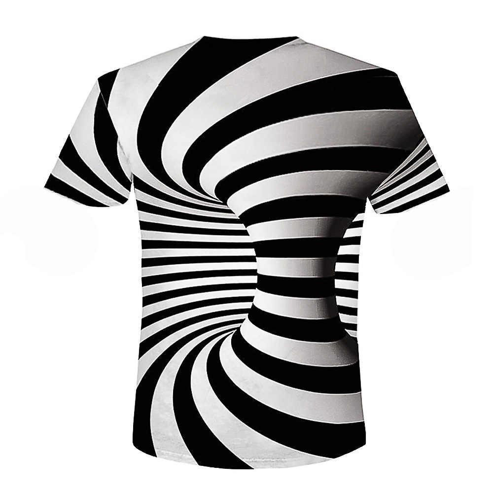 2018 Новые летний стиль Модный Принт футболки с коротким рукавом для мужчин черный и белый Вертиго гипнотический красочная печать 3D футболка