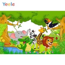 Yeele Birthday Decor Photocall Cartoon Zoo Animal Photography Backdrops Personalized Photographic Backgrounds For Photo Studio
