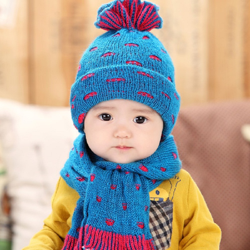 2018 New Style Winter Baby Hat Scarf Set For Kids Girls Hat Scarf Boy Cap  Baby ... 3a43f5855ef