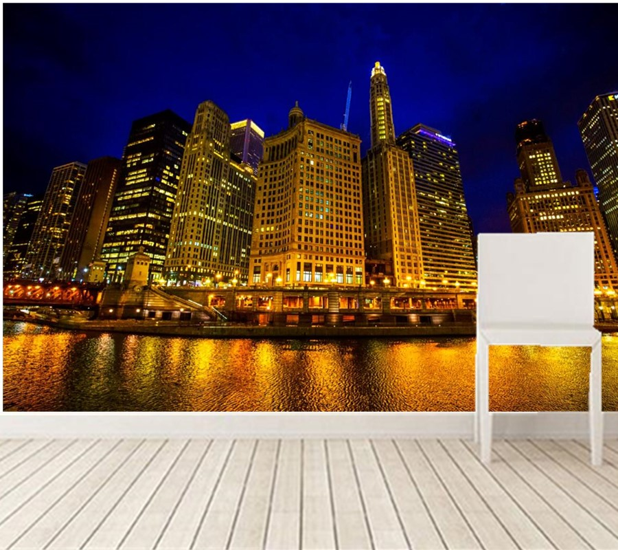 3D wallpaper,beautiful night view of Chicago,golden buildings under the light,living room TV wall bedroom large murals book knowledge power channel creative 3d large mural wallpaper 3d bedroom living room tv backdrop painting wallpaper