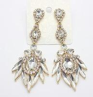 2014 New arrival full clear crystal flower drop earrings alloy full gem vintage decoration  women earrings Free shipping