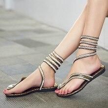 2018 summer new fashion casual handmade shoes snake-shaped rhinestones toe flat  sandals female Roman cbb938a937b5