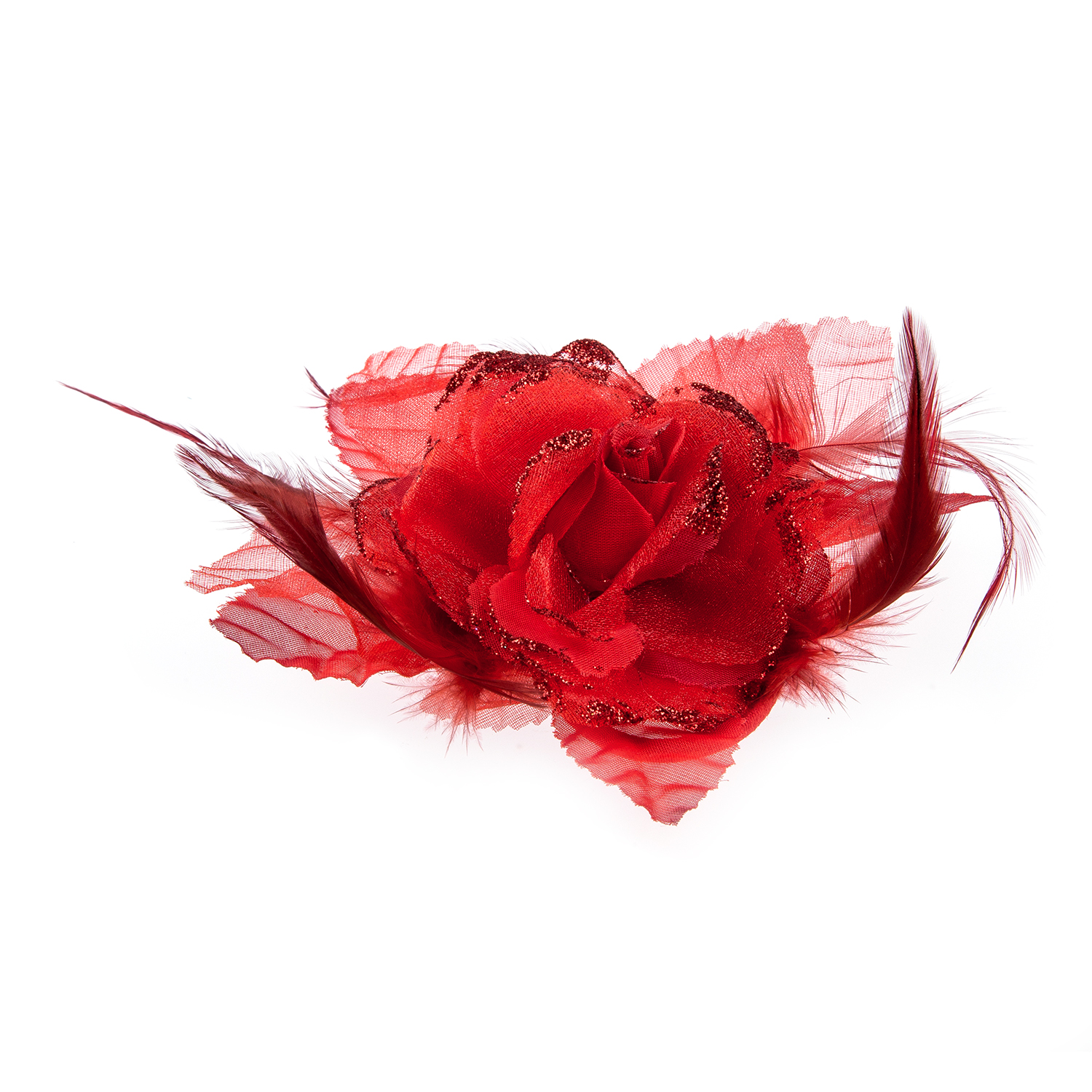 Bride Head Decoration Feather Organza Roses Red Hair Band Scrunchy ...