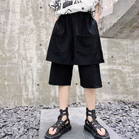 M-XL!!Summer dark multi-pocket design men's fake two loose casual pants hair stylist skirt pants youth five pants shorts.