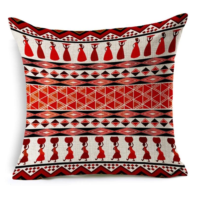 MHome    Vintage cotton linen Africa geometry stripe wave cushion cover bohemian decorative throw pillows sofa pillowcases